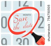 save the date poster with red... | Shutterstock .eps vector #756750505
