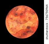 watercolor planet mars on black ...   Shutterstock .eps vector #756750964