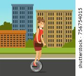 businesswoman riding on one... | Shutterstock .eps vector #756754015