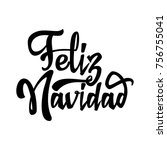 feliz navidad   badge with... | Shutterstock .eps vector #756755041