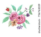 watercolor floral bouquet... | Shutterstock . vector #756763039