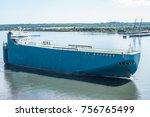 transporter ship sailing from... | Shutterstock . vector #756765499