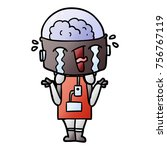 cartoon crying robot shrugging... | Shutterstock .eps vector #756767119