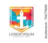 christian church vector logo... | Shutterstock .eps vector #756770005