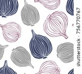 doodle colorful onions on white ... | Shutterstock .eps vector #756770767
