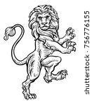 a lion standing rampant on its... | Shutterstock . vector #756776155