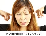 young japanese woman suffers... | Shutterstock . vector #75677878