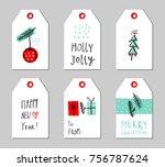 christmas gift tags set. vector ... | Shutterstock .eps vector #756787624