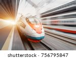 high speed train rides at high... | Shutterstock . vector #756795847