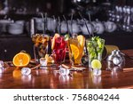whiskey cola cocktail  mojito... | Shutterstock . vector #756804244