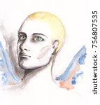 watercolor man portrait with... | Shutterstock . vector #756807535