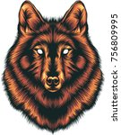 wolf head illustration | Shutterstock .eps vector #756809995