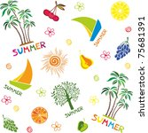 summer seamless pattern.... | Shutterstock .eps vector #75681391