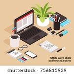 office workspace isometric... | Shutterstock .eps vector #756815929