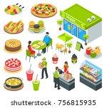 vegetarian natural healthy food ... | Shutterstock .eps vector #756815935