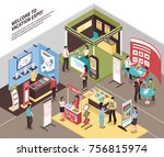 isometric expo stand exhibition ... | Shutterstock .eps vector #756815974