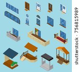 isometric house constructor... | Shutterstock .eps vector #756815989