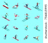 winter sport isometric people... | Shutterstock .eps vector #756815995