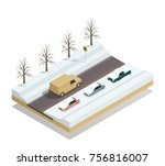 winter road with riding pickup... | Shutterstock .eps vector #756816007