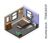 isometric interior composition... | Shutterstock .eps vector #756816019
