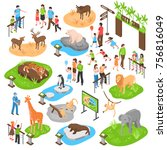 City Zoo Isometric Set With...