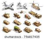 army transport isometric icons... | Shutterstock .eps vector #756817435