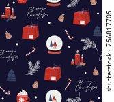 merry christmas happy new year...   Shutterstock .eps vector #756817705