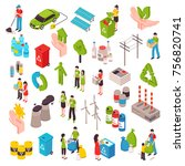 ecology isometric set with... | Shutterstock .eps vector #756820741