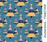 snowflake winter christmas tree ... | Shutterstock .eps vector #756827209