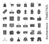 black friday solid web icons.... | Shutterstock .eps vector #756827431
