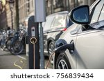 charging an electric car in... | Shutterstock . vector #756839434