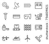 thin line icon set   gear ... | Shutterstock .eps vector #756839821
