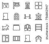 thin line icon set   shop... | Shutterstock .eps vector #756842947