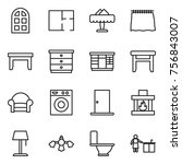 thin line icon set   arch... | Shutterstock .eps vector #756843007