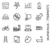 thin line icon set   shop  24 7 ... | Shutterstock .eps vector #756846571