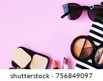 lipstick sunglass necklace... | Shutterstock . vector #756849097