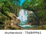 tiger waterfall in lam dong ...   Shutterstock . vector #756849961