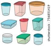 vector set of plastic container | Shutterstock .eps vector #756851419