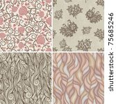 set of floral retro patterns | Shutterstock .eps vector #75685246
