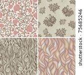 set of floral retro patterns | Shutterstock .eps vector #75685246