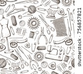 seamless pattern of tools for... | Shutterstock .eps vector #756857821