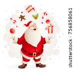 merry santa claus juggles with... | Shutterstock . vector #756858061