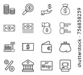 thin line icon set   coin stack ... | Shutterstock .eps vector #756858259