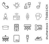 thin line icon set   phone ... | Shutterstock .eps vector #756861424
