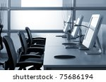 computers with lcd screens in... | Shutterstock . vector #75686194