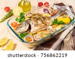 a delicious whole baked fish.... | Shutterstock . vector #756862219