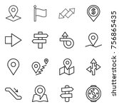 thin line icon set   pointer ... | Shutterstock .eps vector #756865435