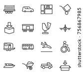 thin line icon set   truck... | Shutterstock .eps vector #756867985