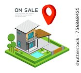modern house isometric with red ...   Shutterstock .eps vector #756868435
