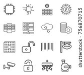 thin line icon set   chip  sun... | Shutterstock .eps vector #756870715